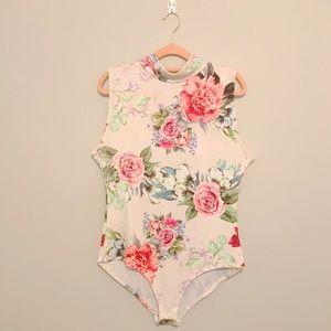 Price Firm - Cream Floral Bodysuit